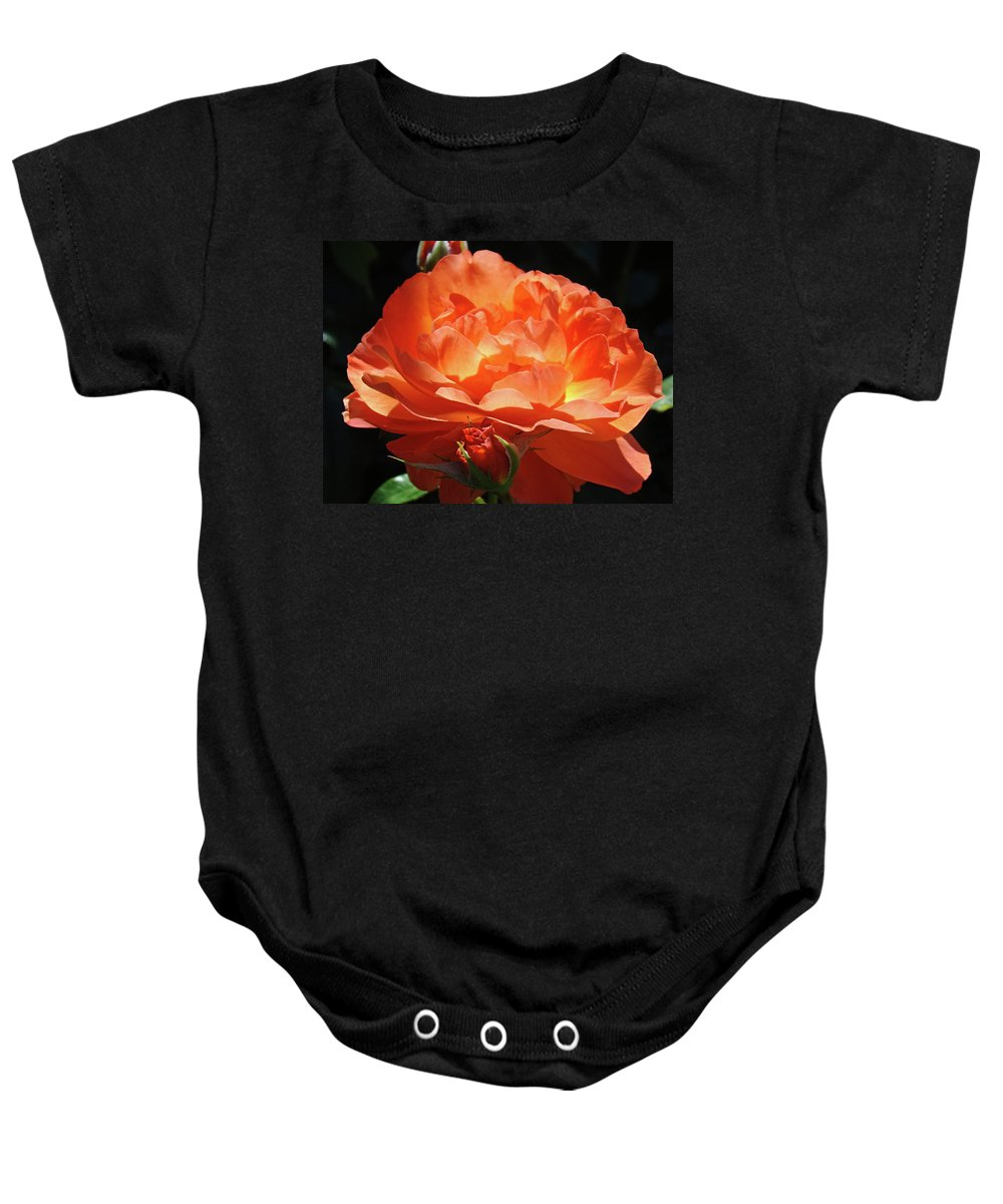Rose Baby Onesie featuring the photograph Rose Flower Art Prints Oragne Roses Summer Botanical Baslee Troutman by Baslee Troutman