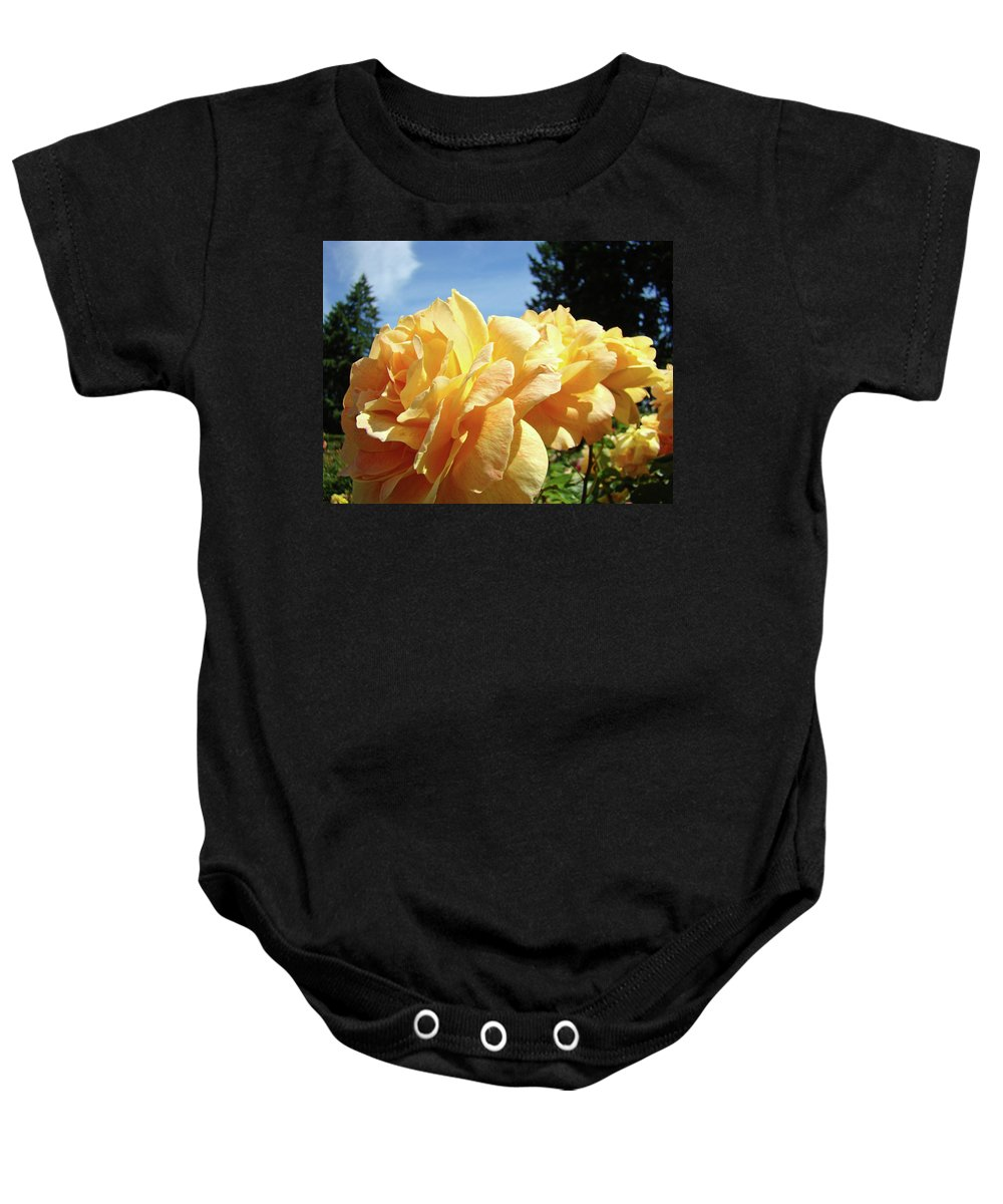 Rose Baby Onesie featuring the photograph Rose Garden Yellow Peach Orange Roses Flowers 3 Botanical Art Baslee Troutman by Baslee Troutman