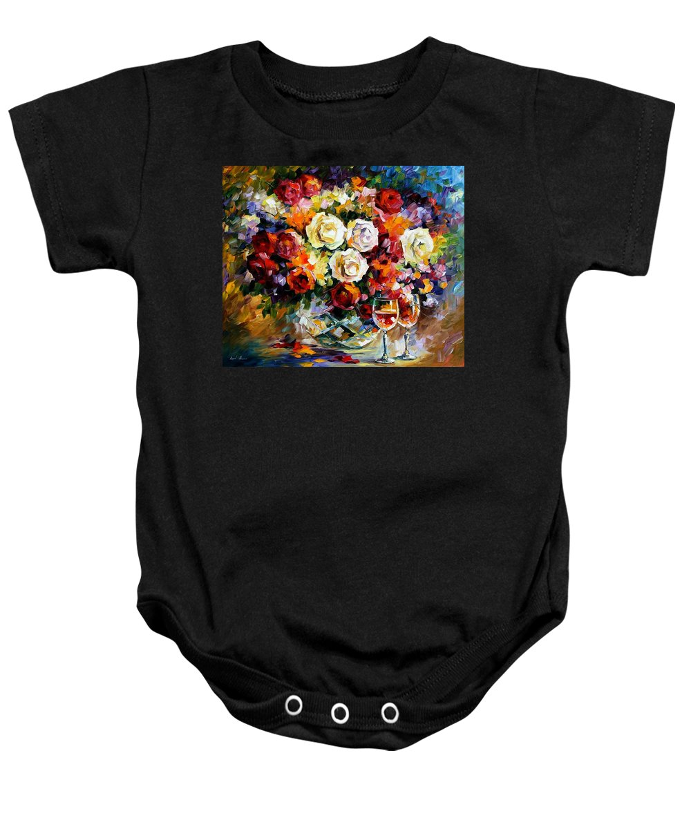 Still Life Baby Onesie featuring the painting Roses And Wine by Leonid Afremov