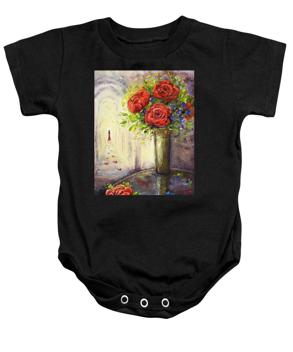 Abstract Baby Onesie featuring the painting Roses And Woman by Boyan Dimitrov