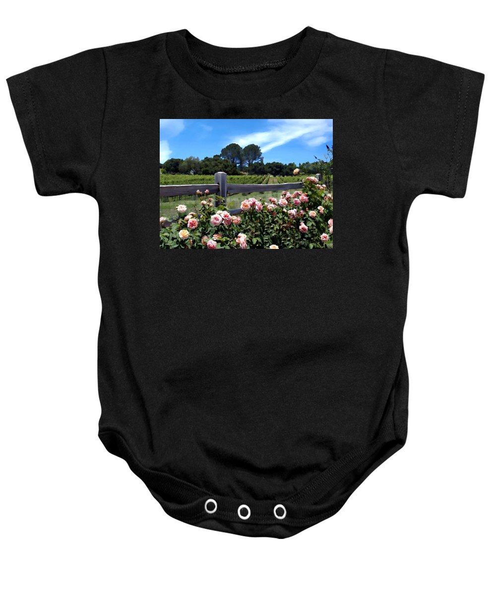 Flowers Baby Onesie featuring the photograph Roses At Rusack Vineyards by Kurt Van Wagner