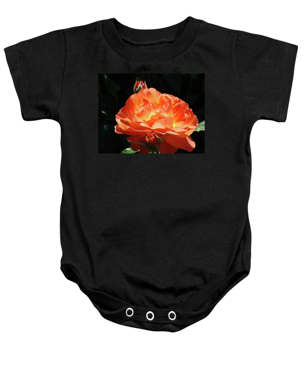 Rose Baby Onesie featuring the photograph Roses Orange Rose Flowers Rose Garden Art Baslee Troutman by Baslee Troutman