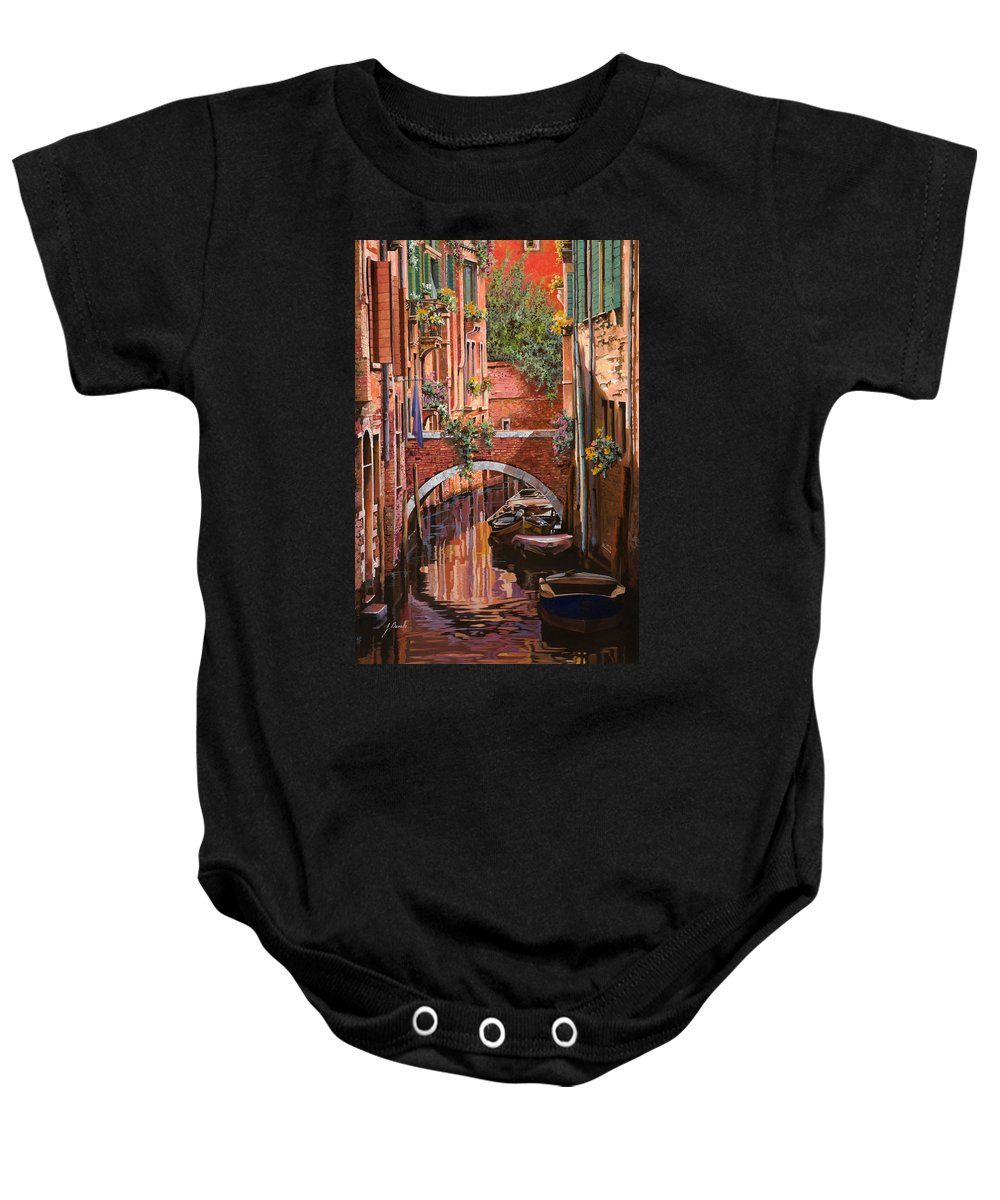 Venice Baby Onesie featuring the painting Rosso Veneziano by Guido Borelli