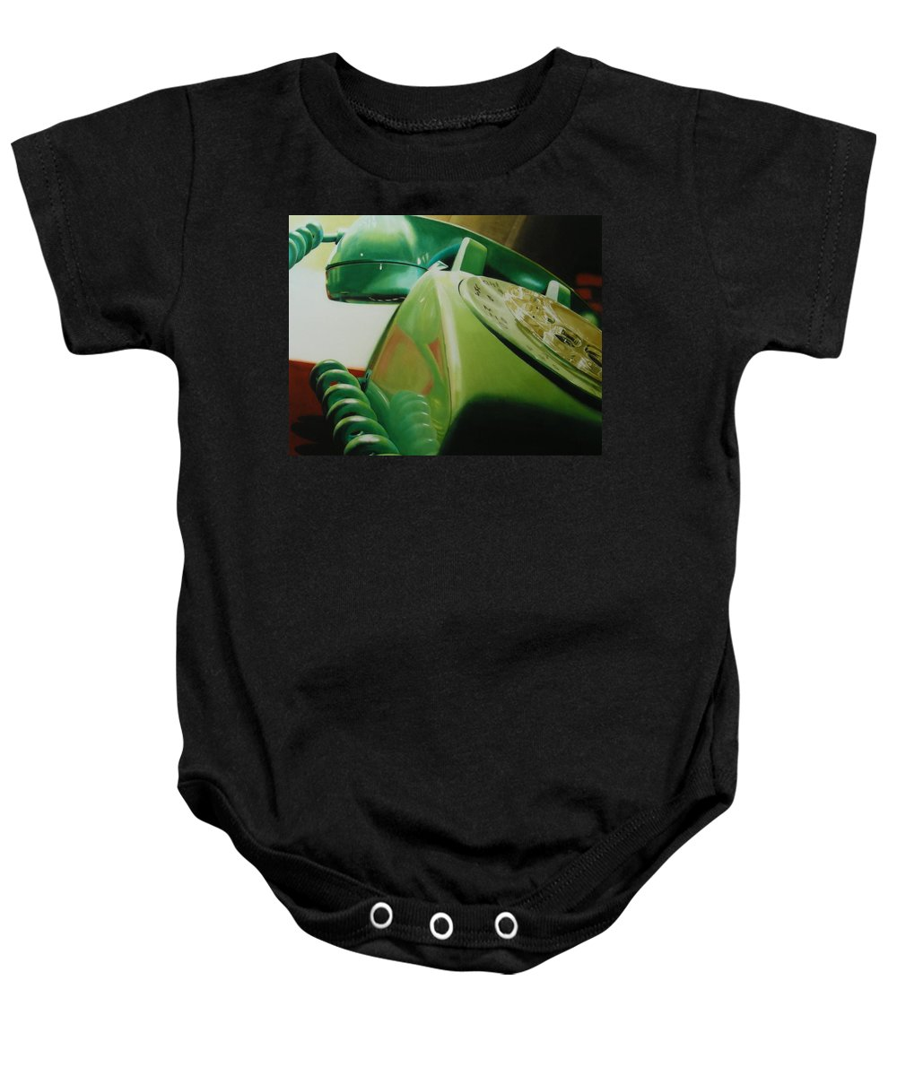 Telephone Baby Onesie featuring the painting Rotary by Denny Bond