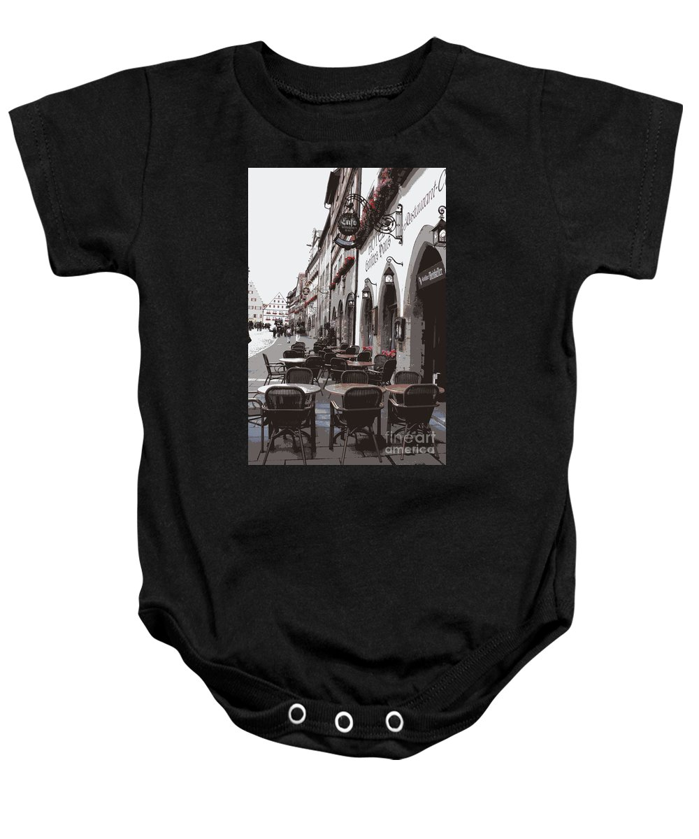Rothenburg Baby Onesie featuring the photograph Rothenburg Cafe - Digital by Carol Groenen