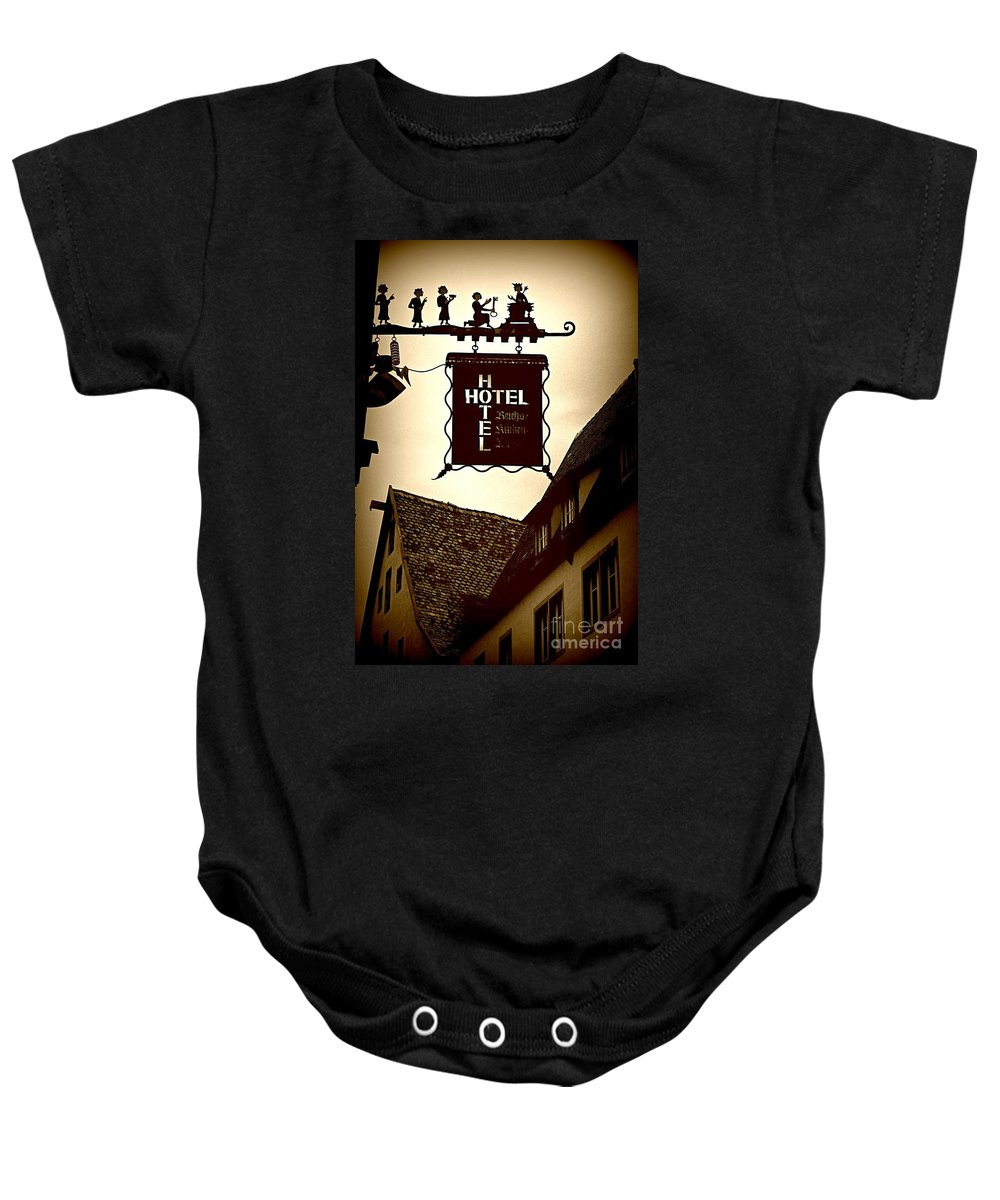 Hotel Sign Baby Onesie featuring the photograph Rothenburg Hotel Sign - Digital by Carol Groenen