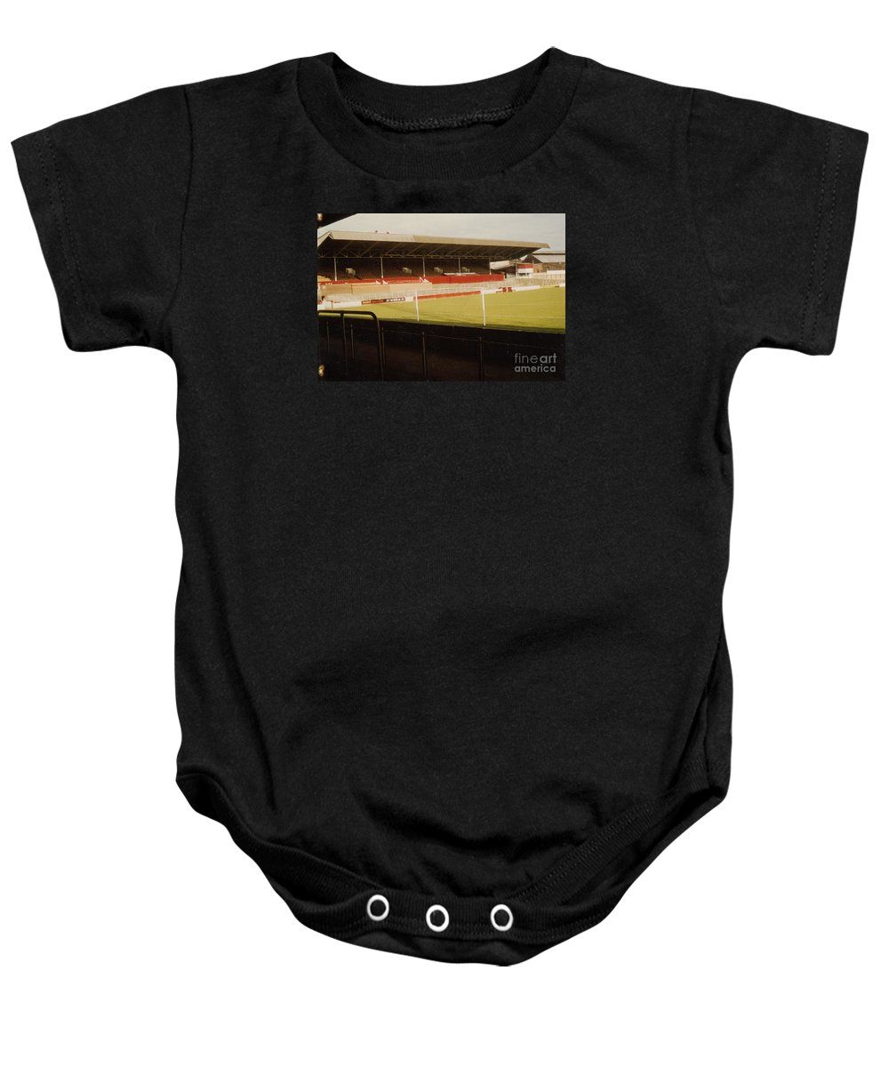 Baby Onesie featuring the photograph Rotherham - Millmoor - Main Stand 2 - 1970s by Legendary Football Grounds