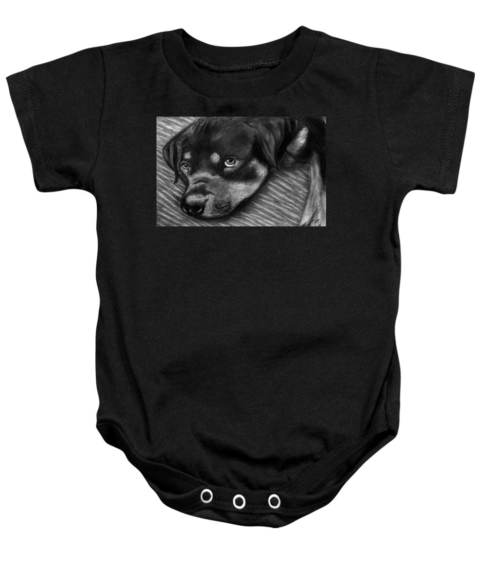 Rot Wilier Baby Onesie featuring the drawing Rotty by Peter Piatt