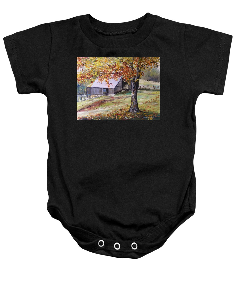 Oil Baby Onesie featuring the painting Rouge Red Chimney by John Williams