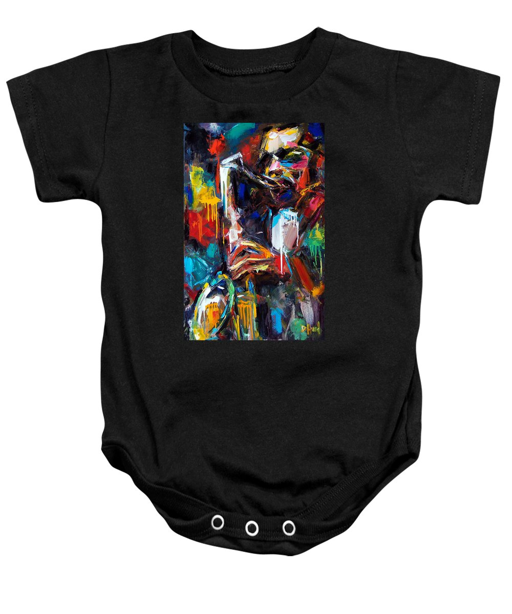 Painting Baby Onesie featuring the painting Round Midnight by Debra Hurd