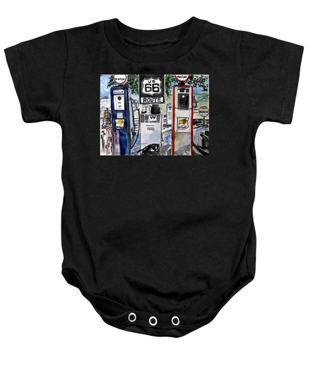 Route 66 Baby Onesie featuring the painting Route 66 by Derek Mccrea