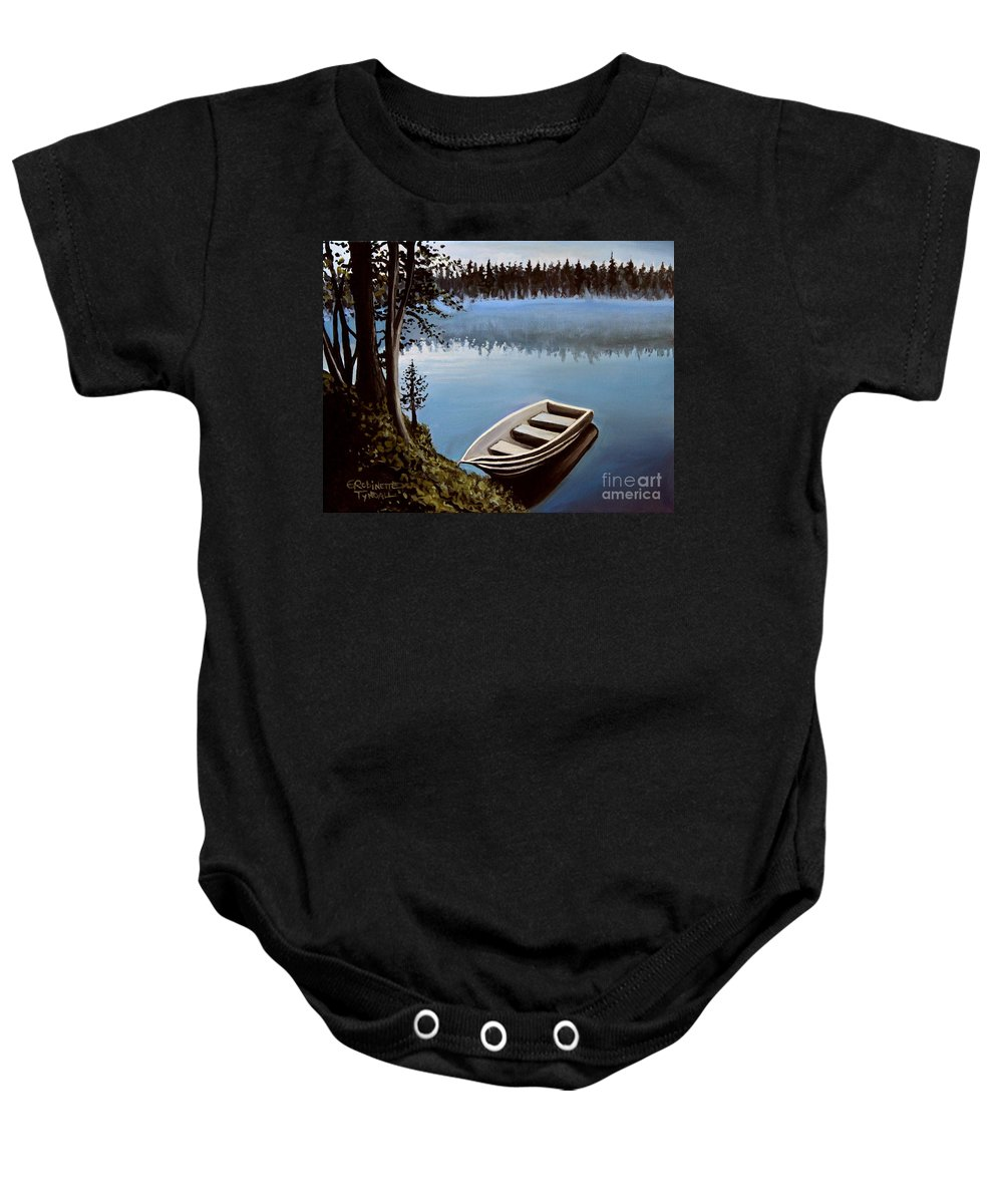 Landscape Baby Onesie featuring the painting Row Boat In The Fog by Elizabeth Robinette Tyndall