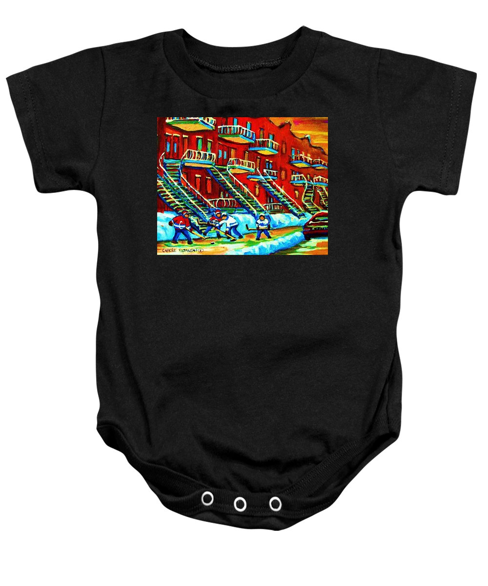 Hockey Baby Onesie featuring the painting Rowhouses And Hockey by Carole Spandau