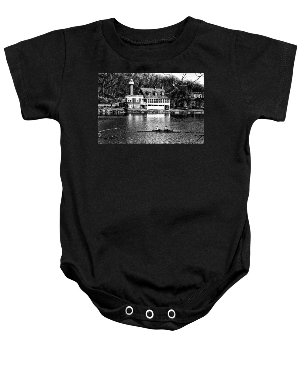 Turtle Baby Onesie featuring the photograph Rowing Past Turtle Rock Light House In Black And White by Bill Cannon