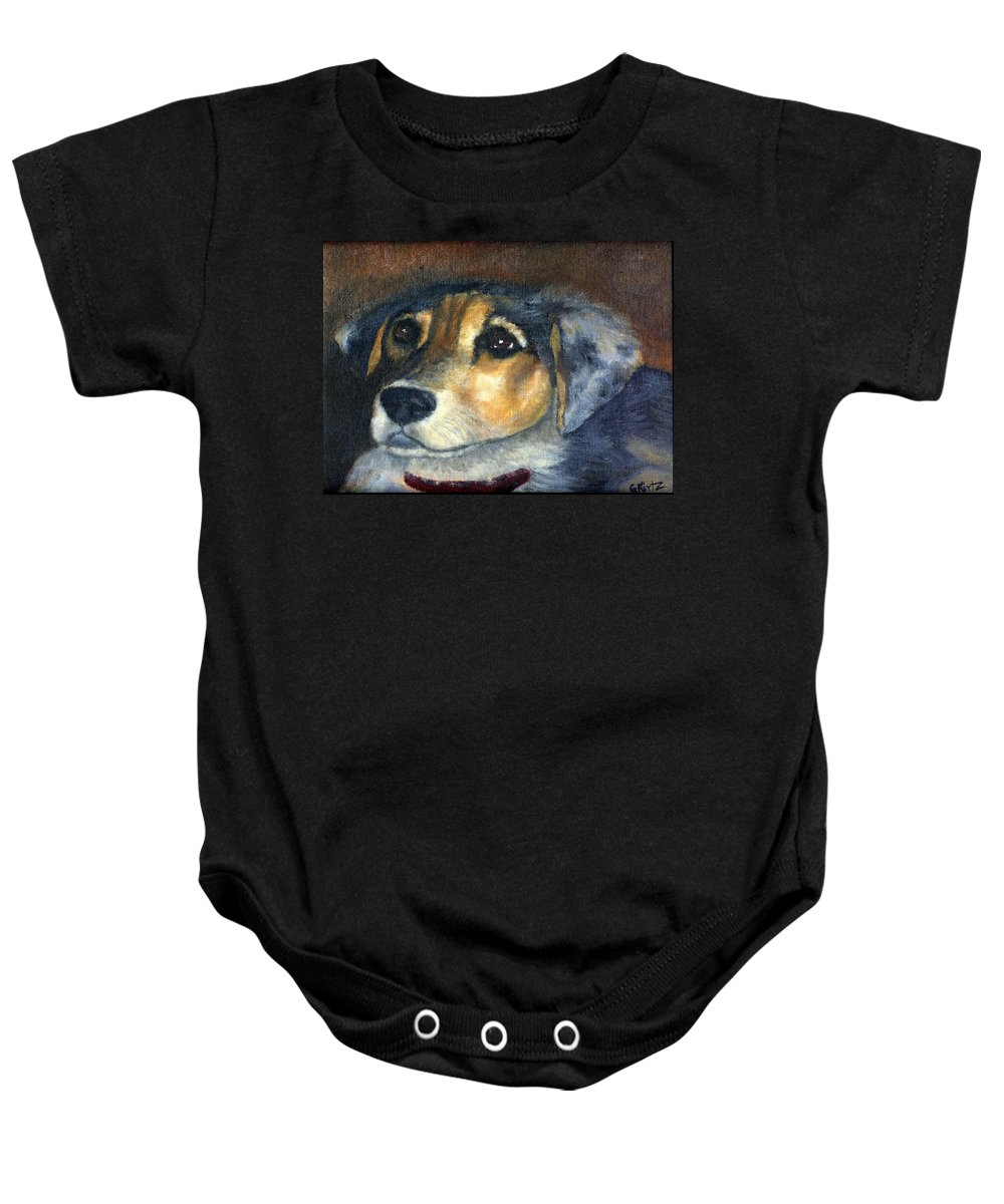 Dog Baby Onesie featuring the painting Roxie by Gail Kirtz