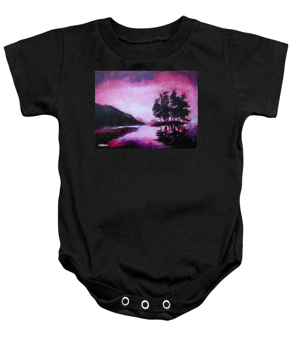 Ruby Dawn Baby Onesie featuring the painting Ruby Dawn by Seth Weaver