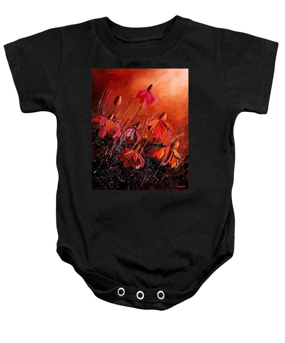 Poppies Baby Onesie featuring the painting Rudbeckia's 45 by Pol Ledent