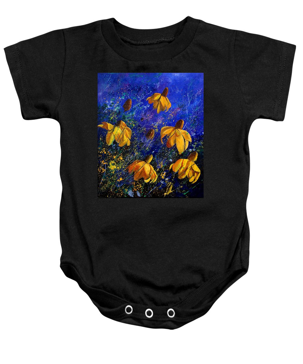 Poppies Baby Onesie featuring the painting Rudbeckia's by Pol Ledent
