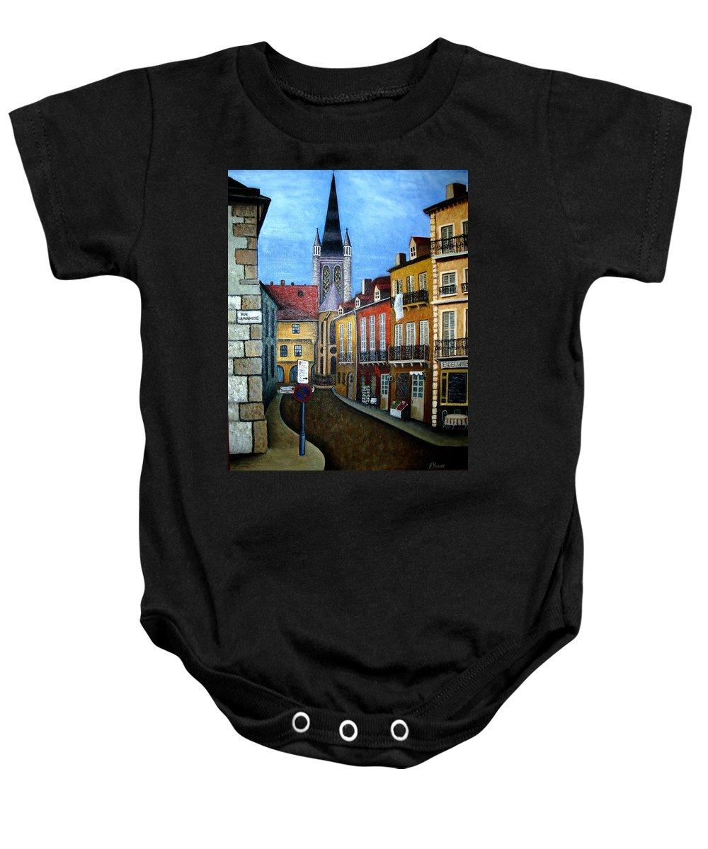 Street Scene Baby Onesie featuring the painting Rue Lamonnoye In Dijon France by Nancy Mueller