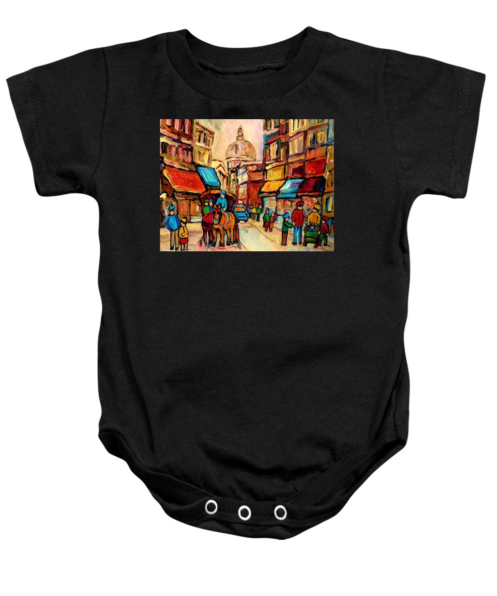 Montreal Baby Onesie featuring the painting Rue St. Paul Old Montreal Streetscene by Carole Spandau