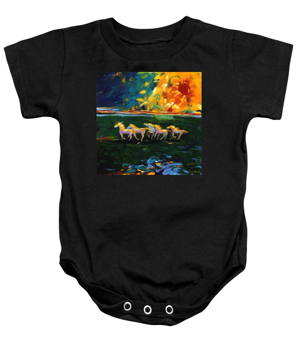 Abstract Horse Baby Onesie featuring the painting Run From The Sun by Lance Headlee