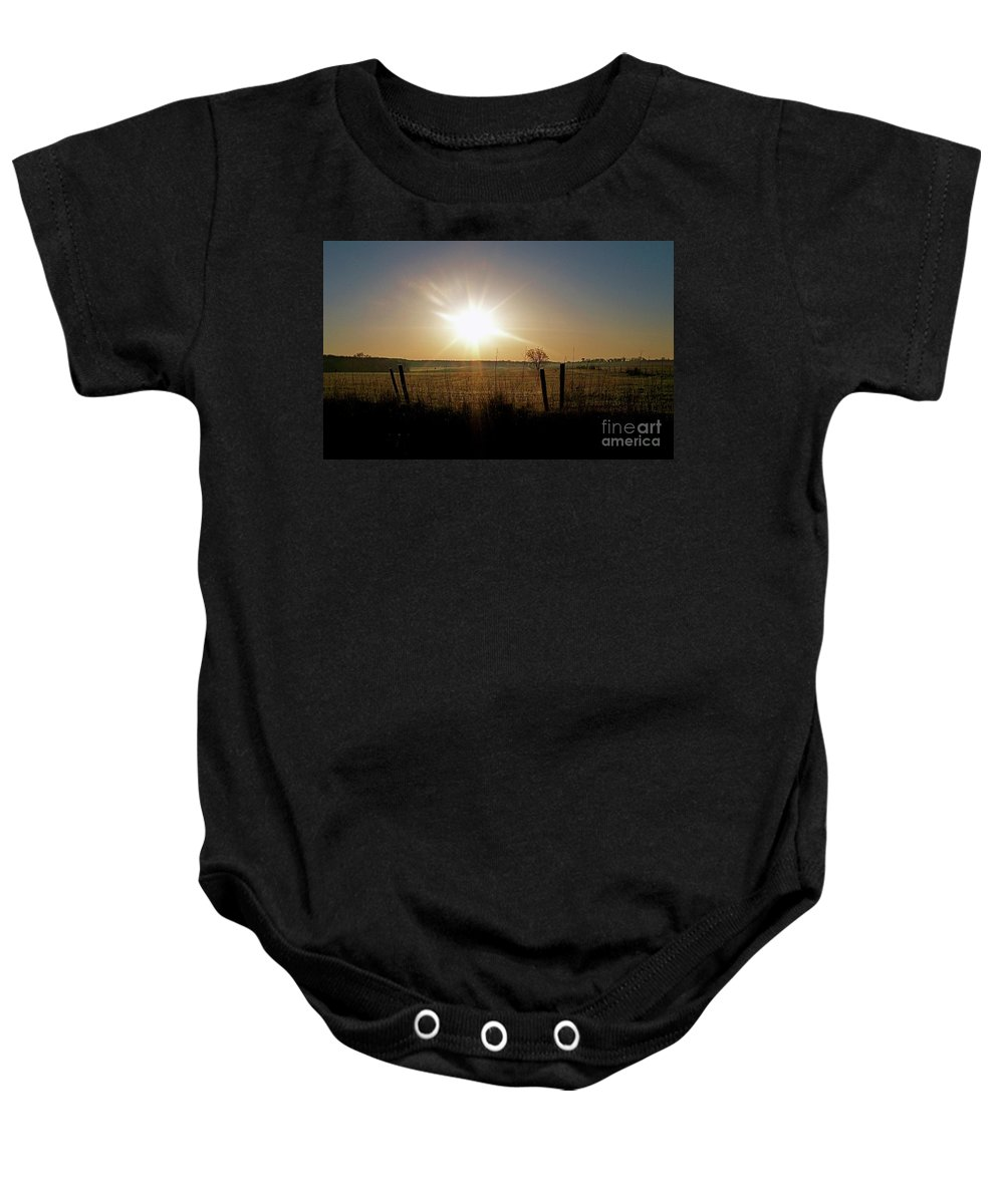 Color Photography Baby Onesie featuring the photograph Rural Sunrise by Sue Stefanowicz