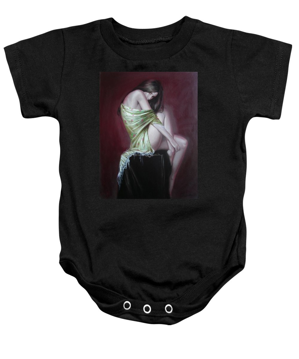 Art Baby Onesie featuring the painting Russian Model by Sergey Ignatenko