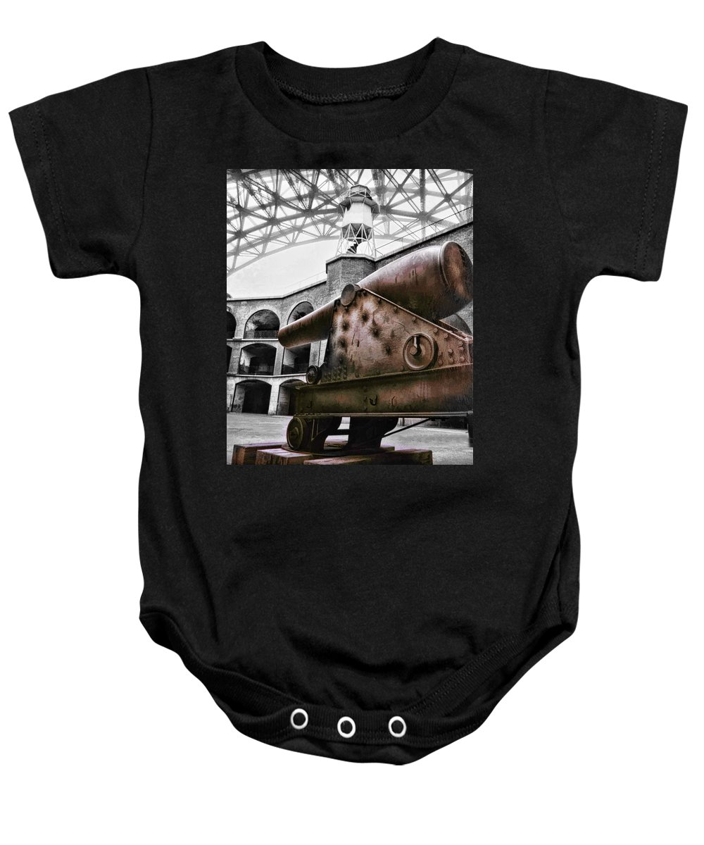 Art Photography Baby Onesie featuring the photograph Rusted Cannon by Blake Richards