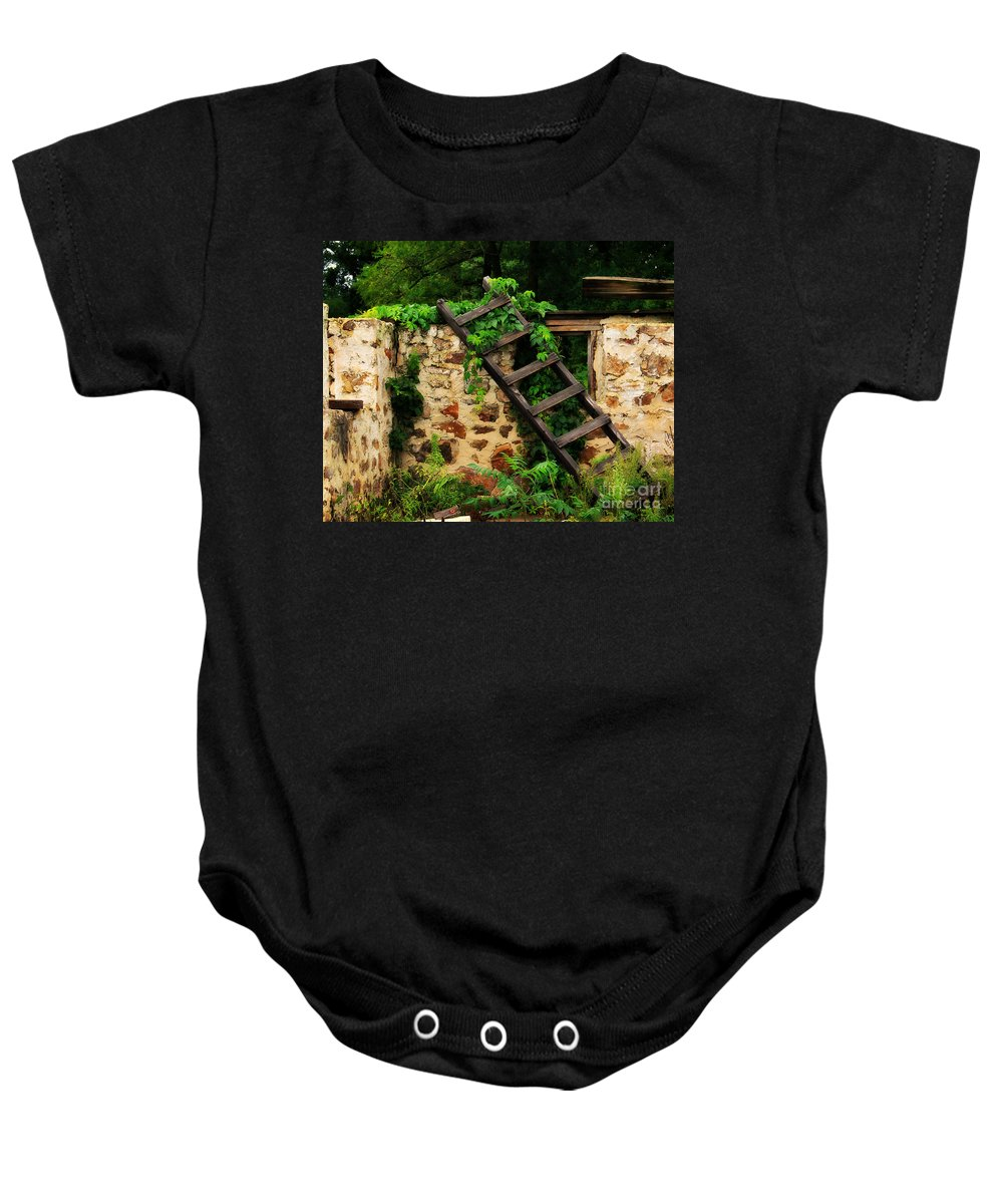 Ladder Baby Onesie featuring the photograph Rustic Ladder by Perry Webster