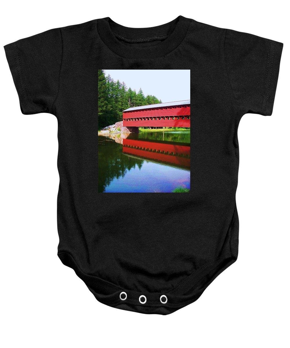 Sachs Bridge Baby Onesie featuring the painting Sachs Bridge by Eric Schiabor