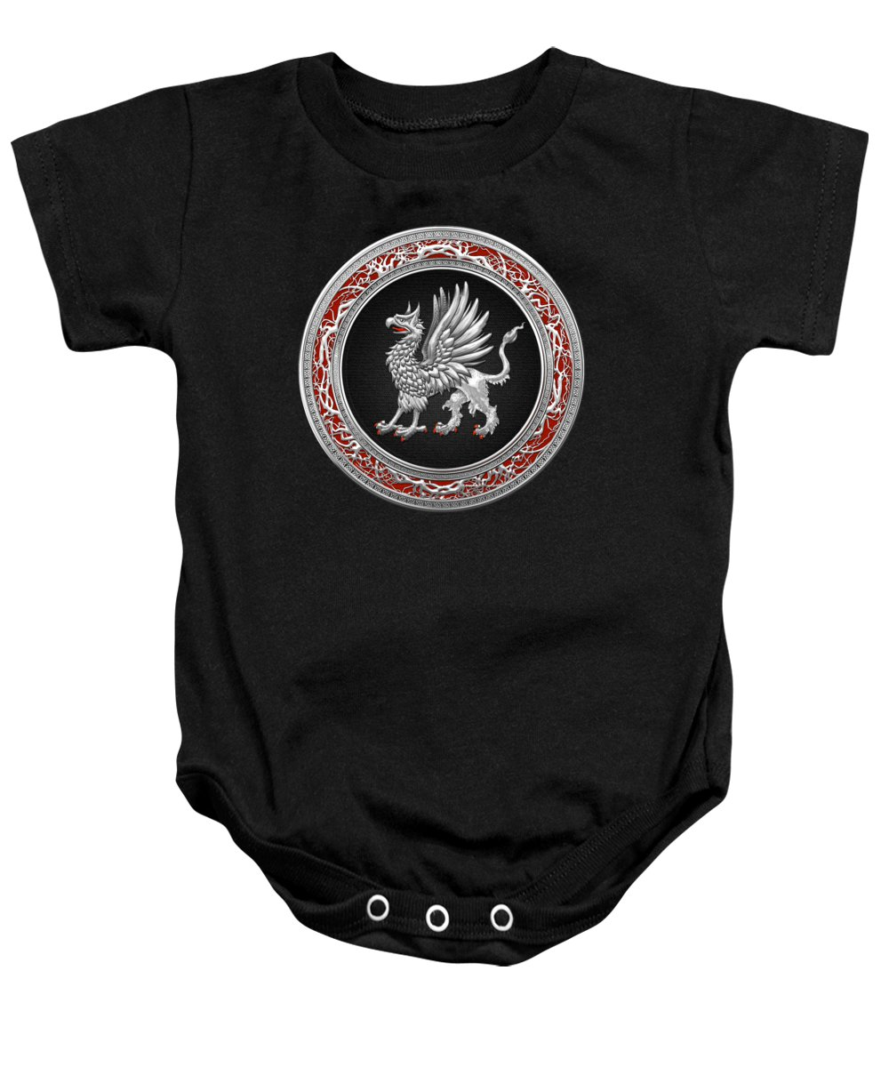'treasure Trove' By Serge Averbukh Baby Onesie featuring the digital art Sacred Silver Griffin On Black Leather by Serge Averbukh
