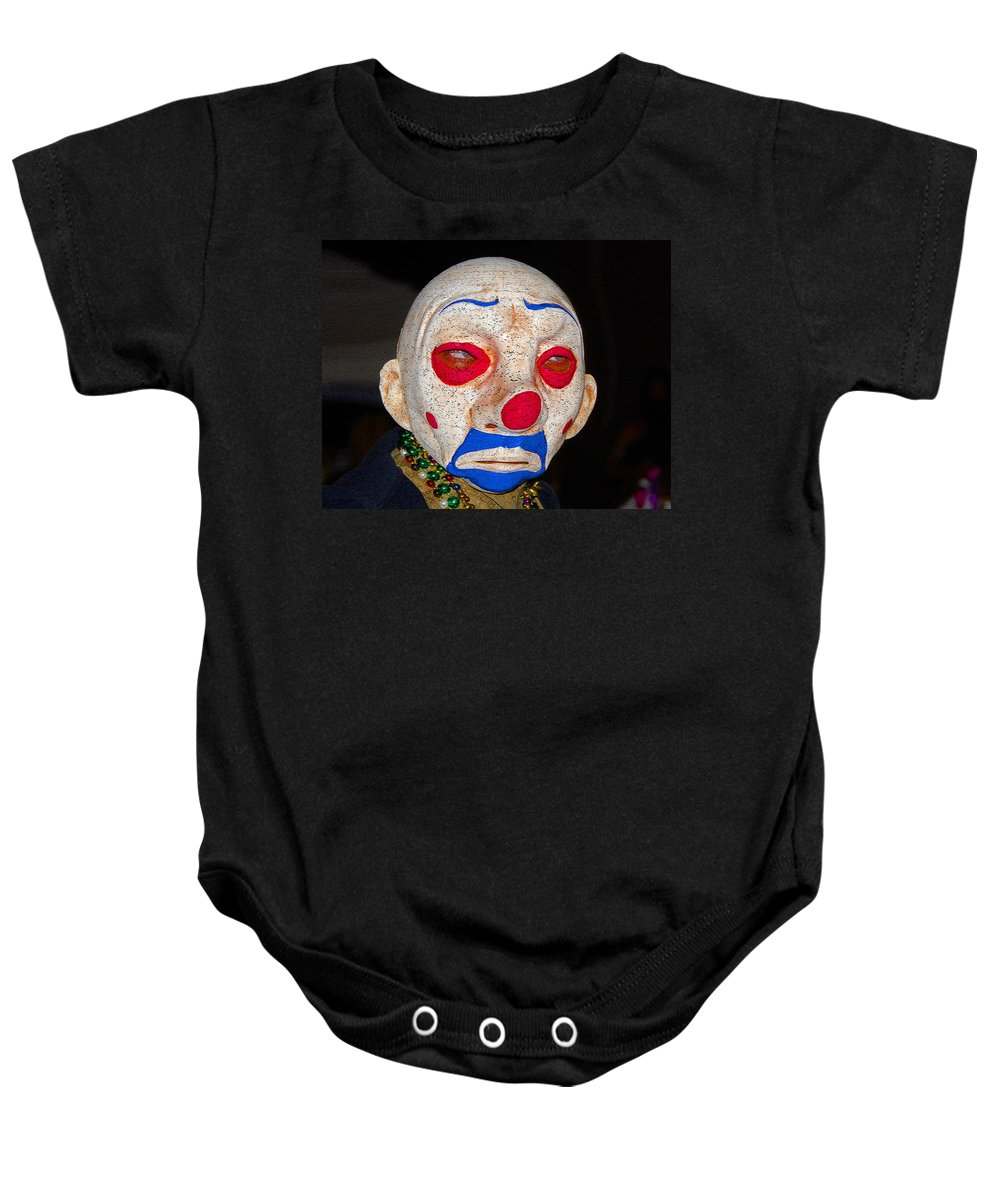 Sad Baby Onesie featuring the painting Sad Clown by David Lee Thompson