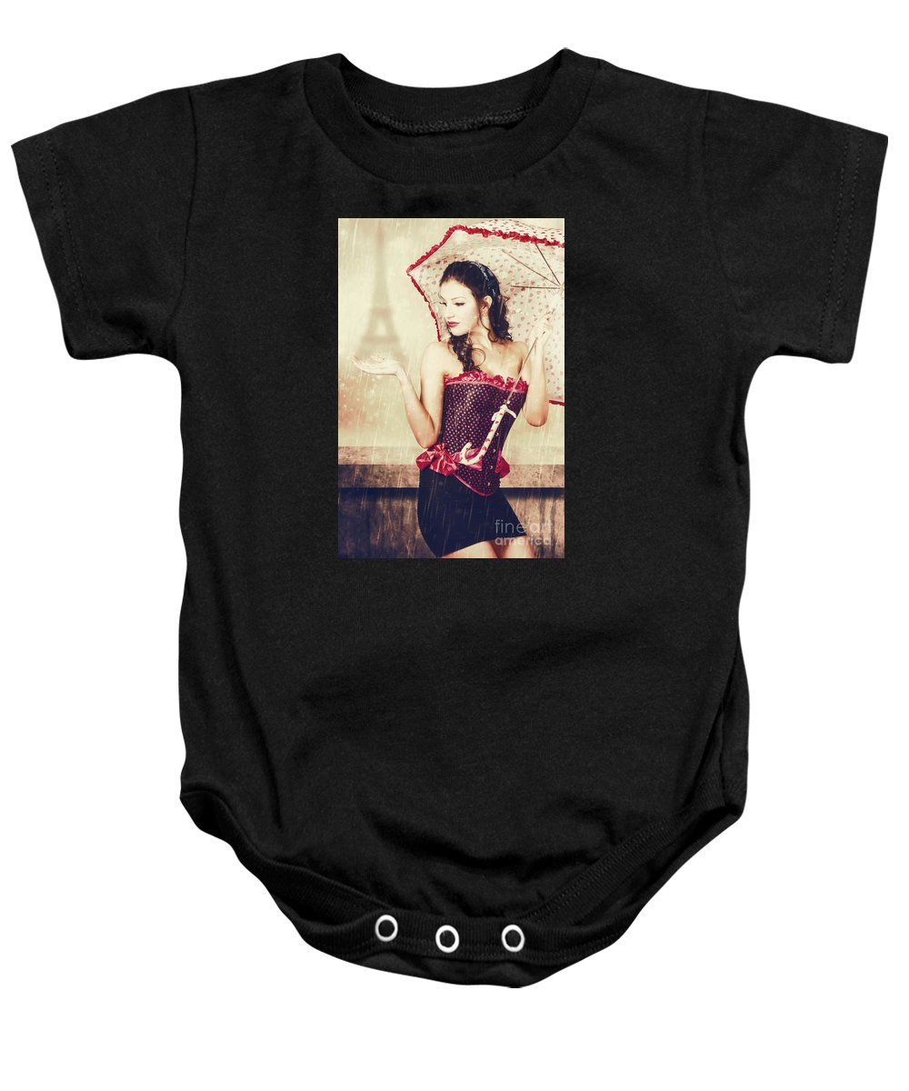 Paris Baby Onesie featuring the photograph Sad French Pin-up Woman. Loss In The City Of Love by Jorgo Photography - Wall Art Gallery