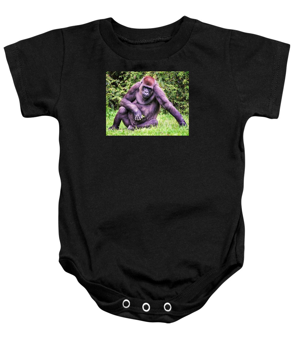 Ape Baby Onesie featuring the photograph Sadness by Claudia Daniels