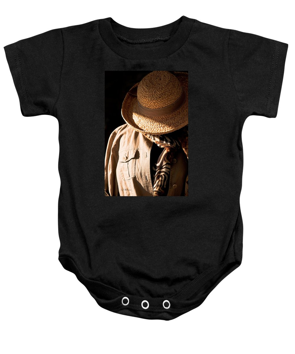 Hat Baby Onesie featuring the photograph Safari Ready by Christopher Holmes