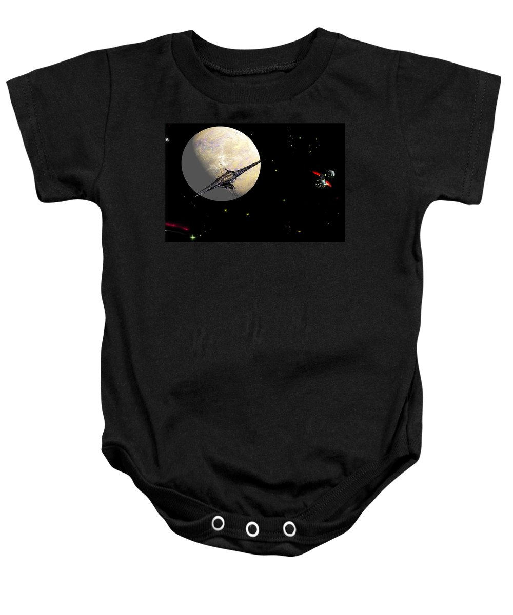Abstract Baby Onesie featuring the digital art Sagan Station At Betelgeuse IIi by David Lane