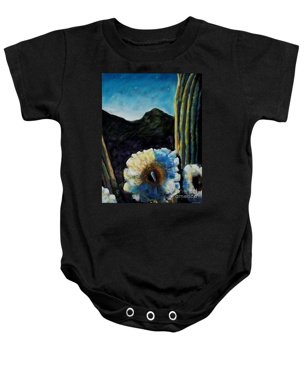 Desert Baby Onesie featuring the painting Saguaro In Bloom by Frances Marino