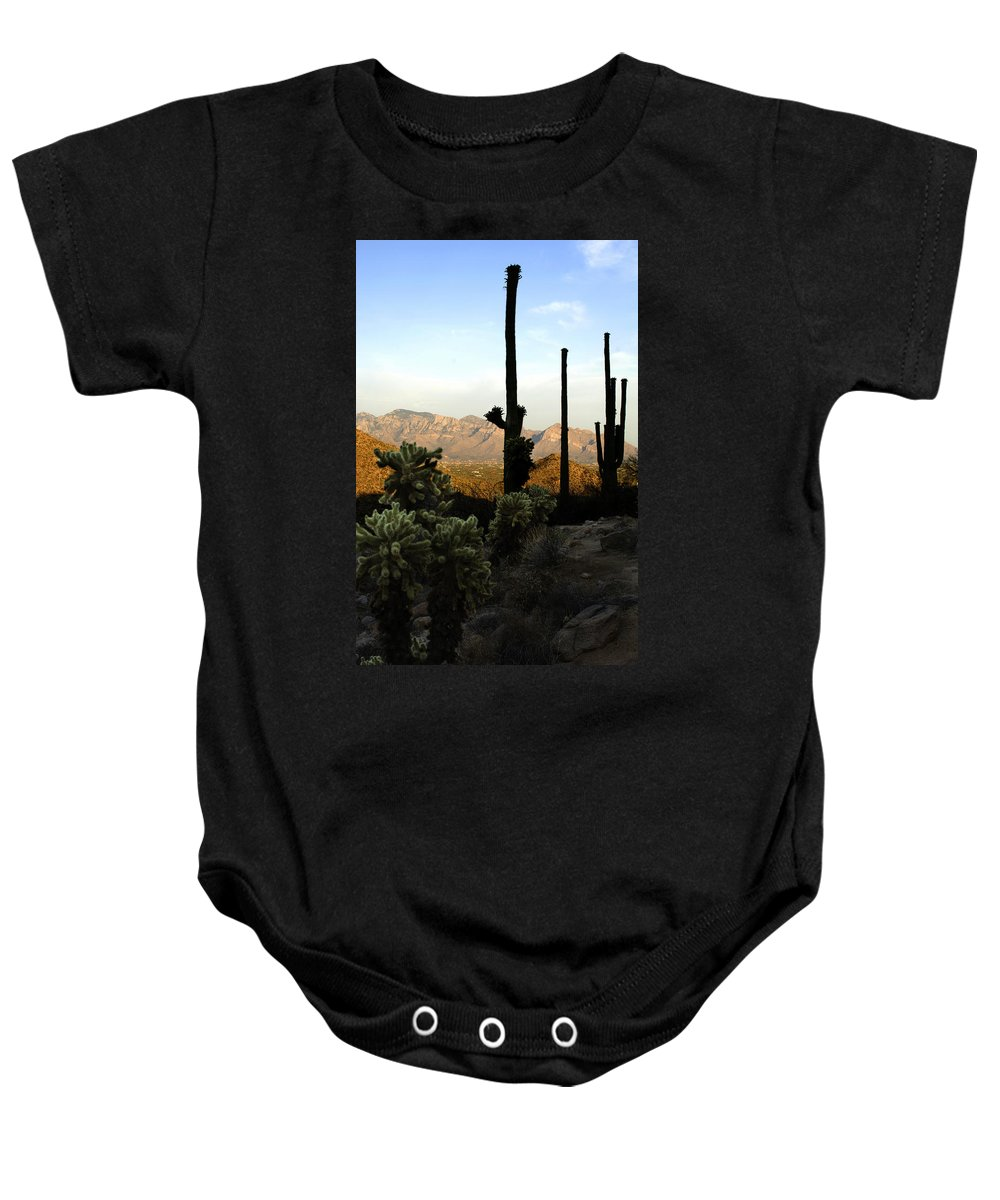 Saguaro Baby Onesie featuring the photograph Saguaro Silhouette by Jill Reger