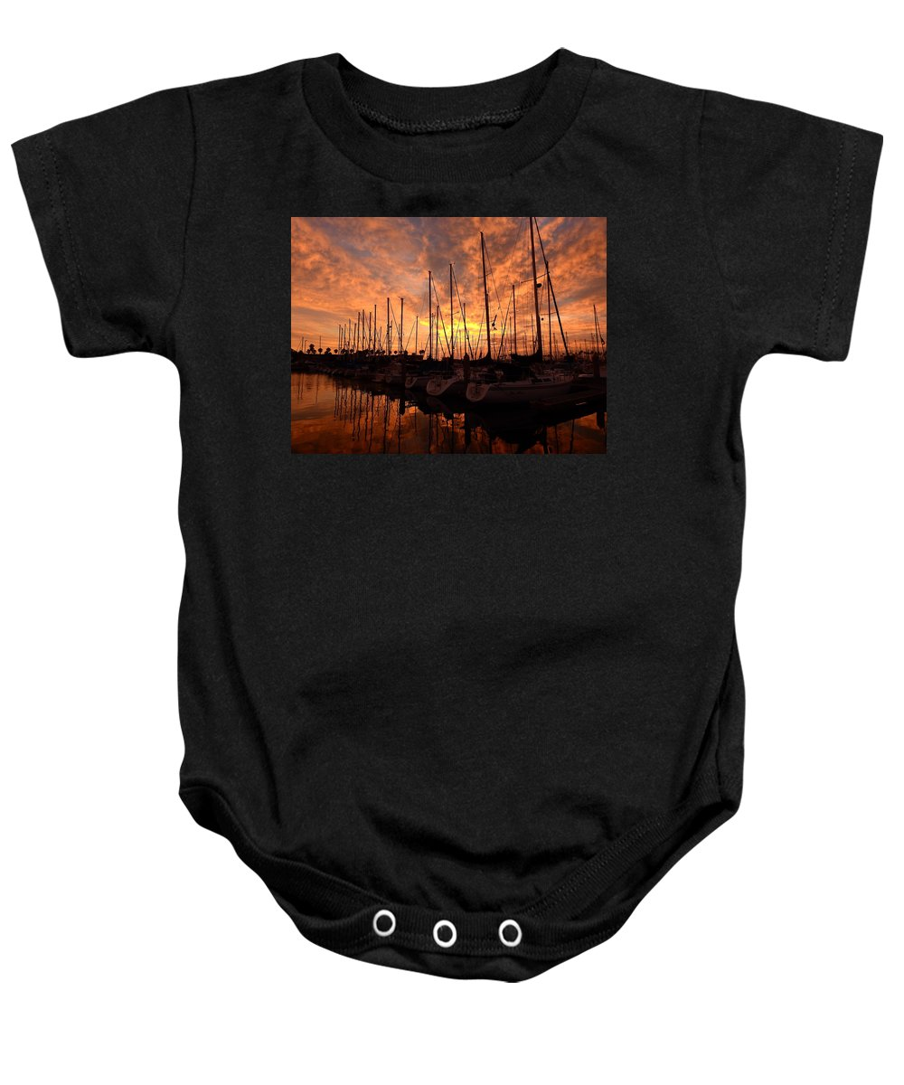 Sail Baby Onesie featuring the photograph Sailboat Sunset by Greg Kear