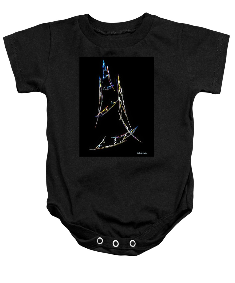 Abstract Baby Onesie featuring the digital art Sailing The South China Sea by RC DeWinter