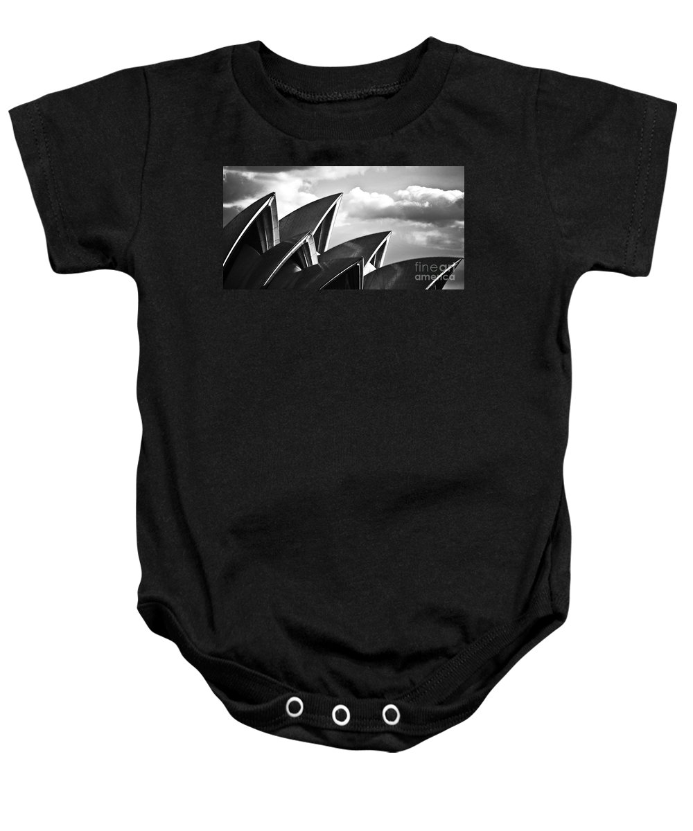 Sydney Opera House Monochrome Black And White Icon Baby Onesie featuring the photograph Sails Of Sydney Opera House by Sheila Smart Fine Art Photography