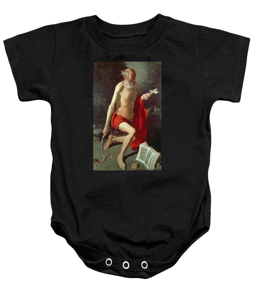Jerome Baby Onesie featuring the painting Saint Jerome by Georges de la Tour