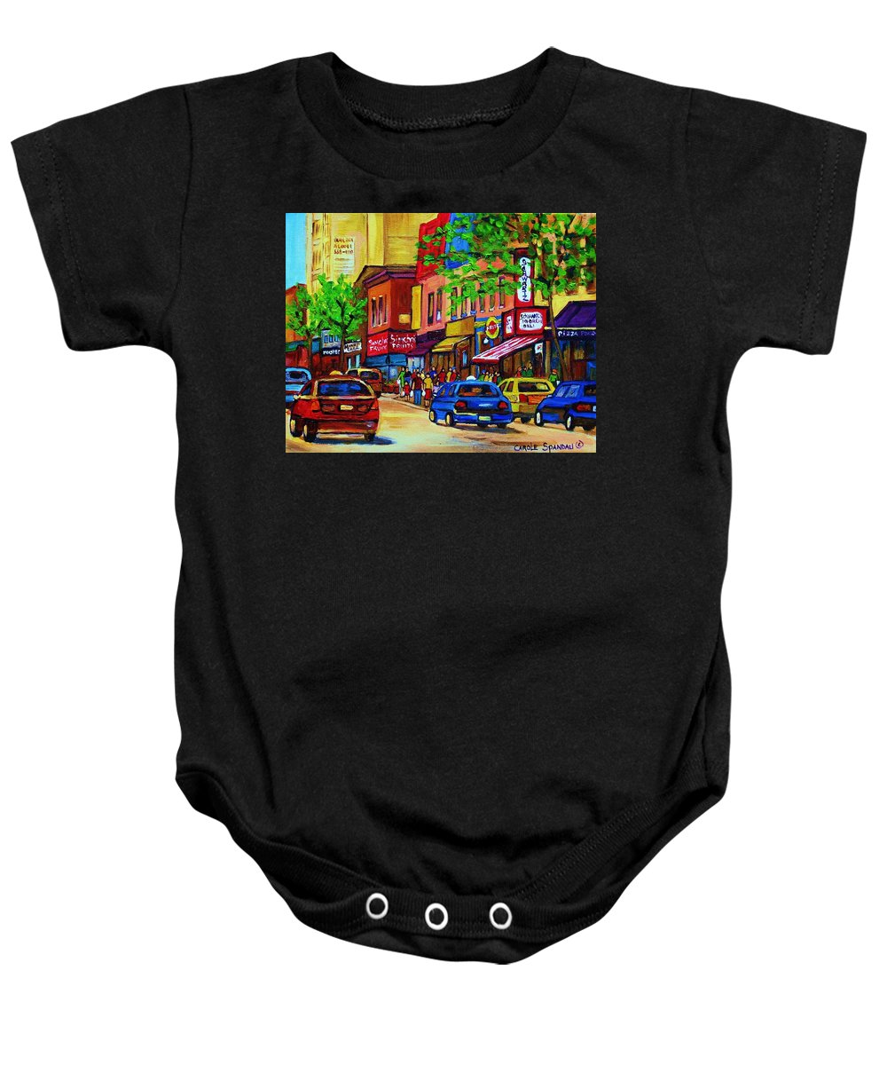 Cityscape Baby Onesie featuring the painting Saint Lawrence Street by Carole Spandau