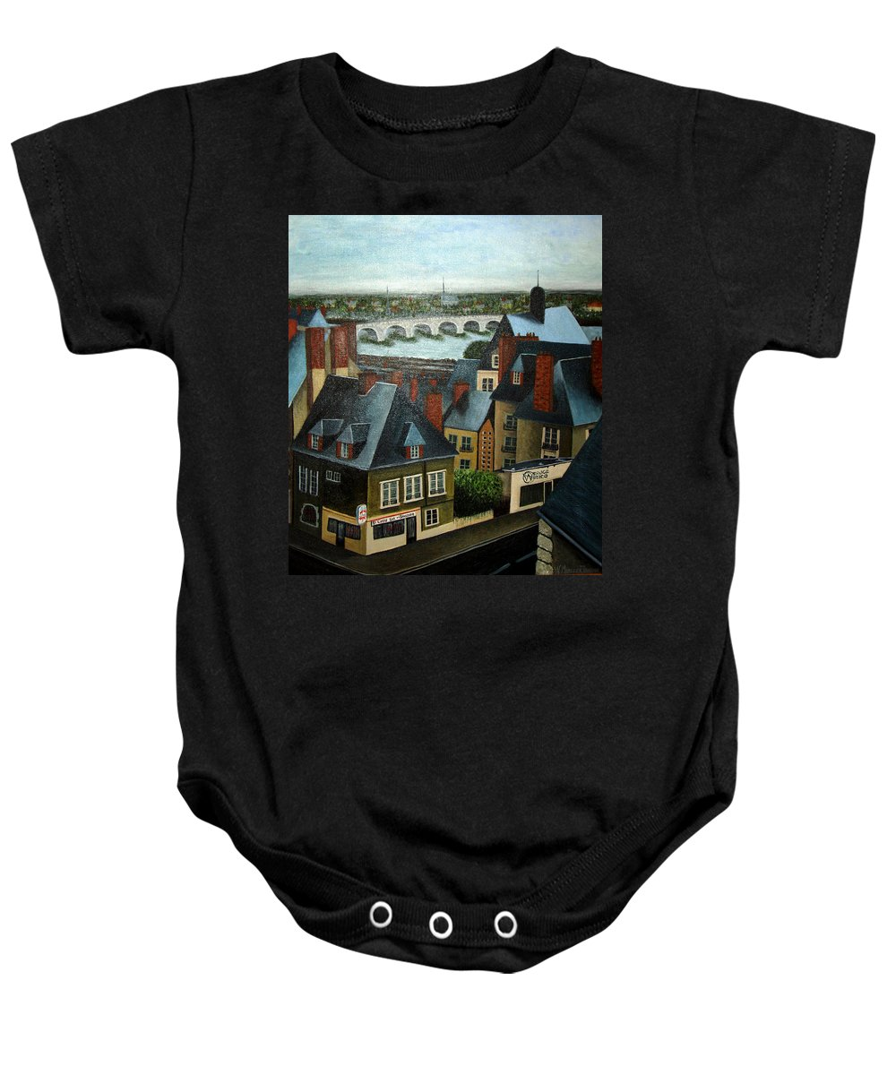Acrylic Baby Onesie featuring the painting Saint Lubin Bar In Lyon France by Nancy Mueller