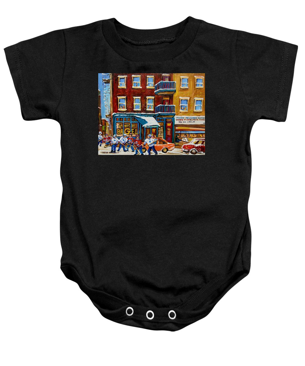 Montreal Baby Onesie featuring the painting Saint Viateur Bagel With Hockey by Carole Spandau