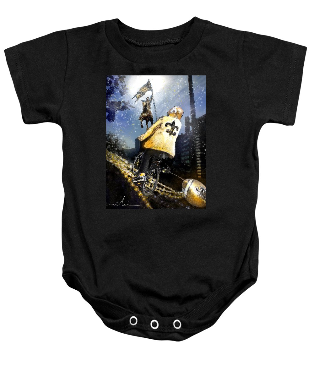 New Orleans Baby Onesie featuring the painting Saints Summit In New Orleans by Miki De Goodaboom