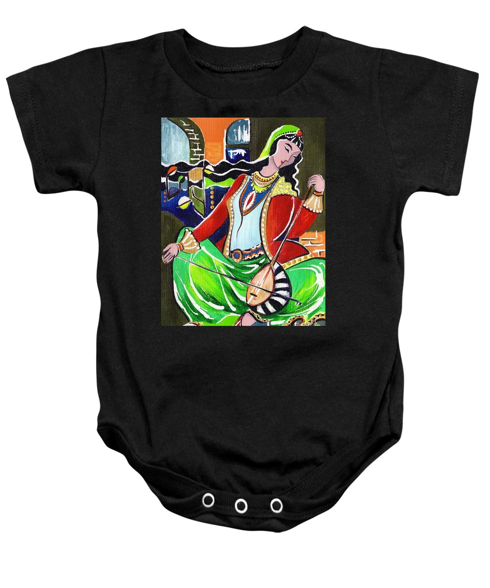 Musical Instruments Baby Onesie featuring the painting Sallaneh And Its Player by Elisabeta Hermann