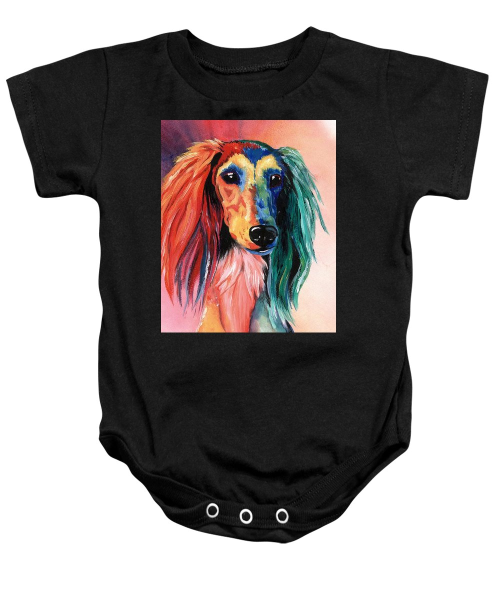 Saluki Baby Onesie featuring the painting Saluki Sunset by Kathleen Sepulveda