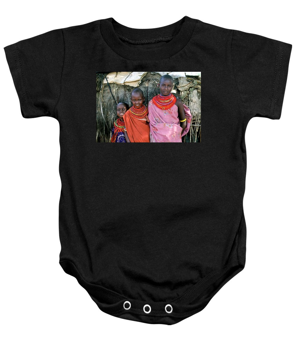 Africa Baby Onesie featuring the photograph Samburu Sisters by Michele Burgess