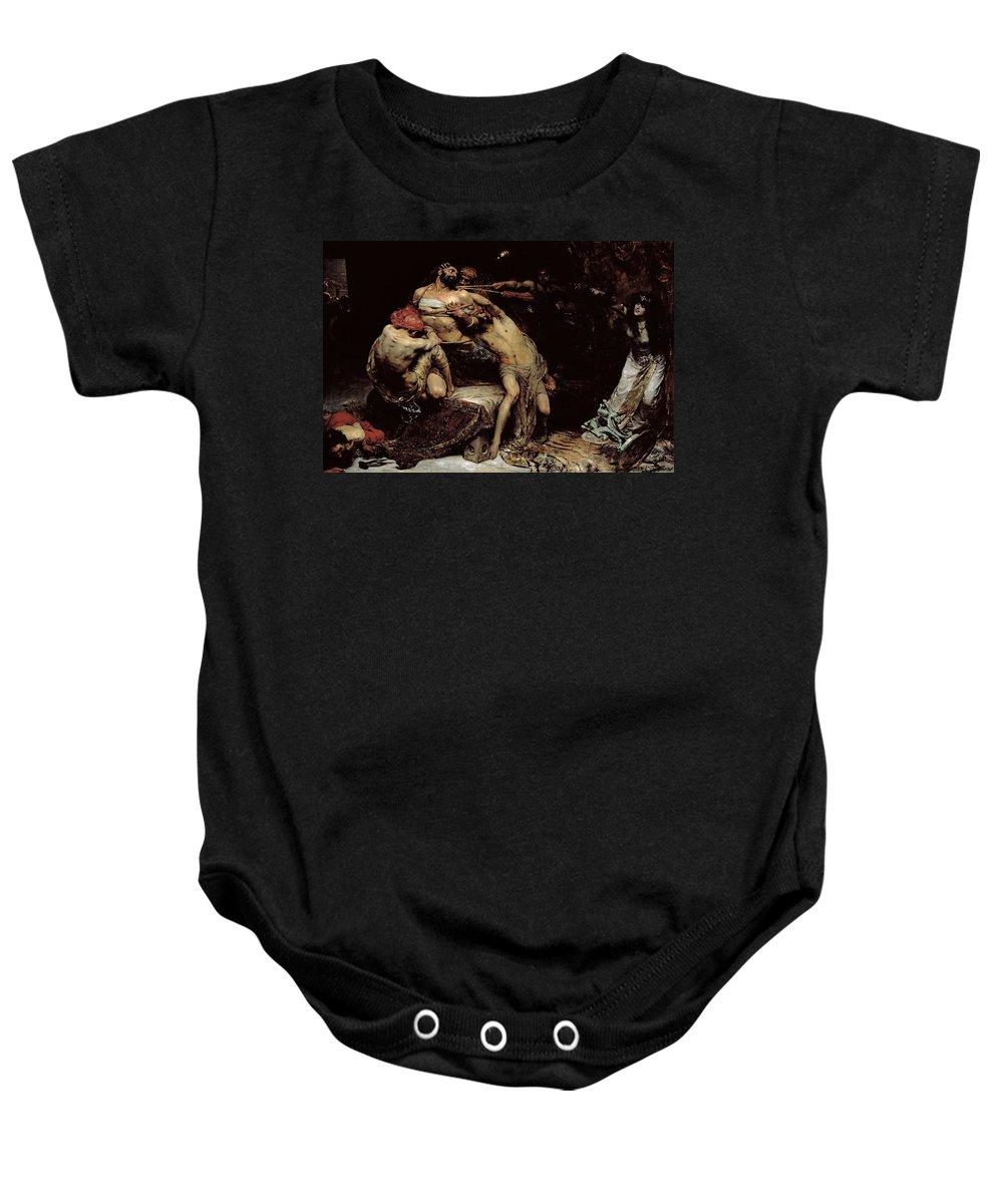 Bound; Philistines; Philistine; Delilah; Rope; Cutting Hair; Strength; Struggle; Dramatic; Dalila; Samson Baby Onesie featuring the painting Samson by Solomon Joseph Solomon